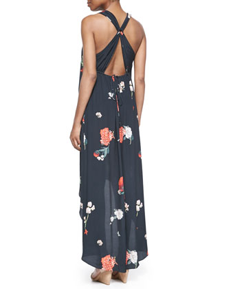 Alice Olivia Veronica Floral Print High Low Dress