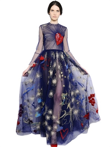 Valentino Embroidered Tulle Dress Luisaviaroma Luxury Shopping Worldwide Shipping Florence
