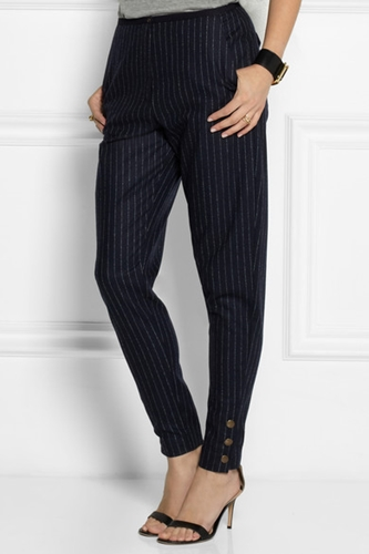 See By Chloe Pinstriped Wool Blend Felt Tapered Pants Net A Porter.Com
