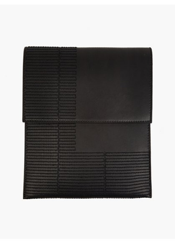 Men's Black Leather Ipad Case