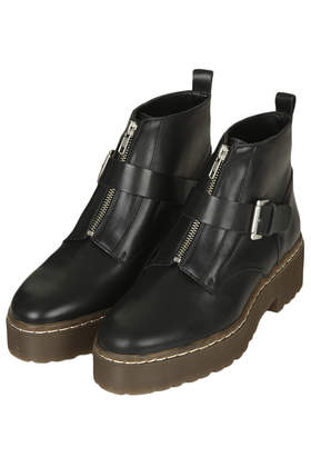 Attain Zip Front Boots Clothing Topshop