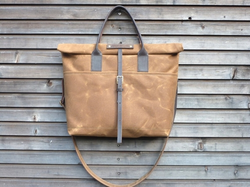 Waxed Canvas Bag Carry All Messenger Bag With By Treesizeverse