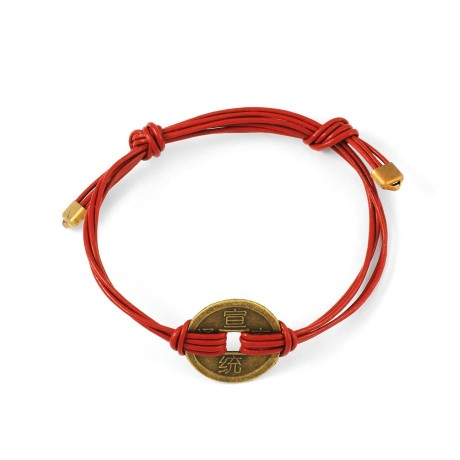 Kapok George Frost Multi Strand Leather Coin Bracelet Red