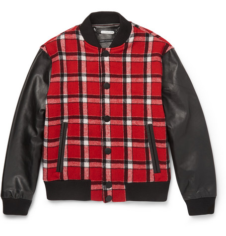 Marc By Marc Jacobs Plaid Wool Blend And Leather Bomber Jacket Mr Porter