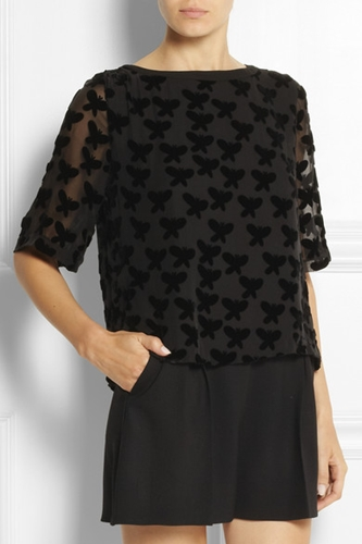 Band Of Outsiders Flocked Chiffon Top Net A Porter.Com