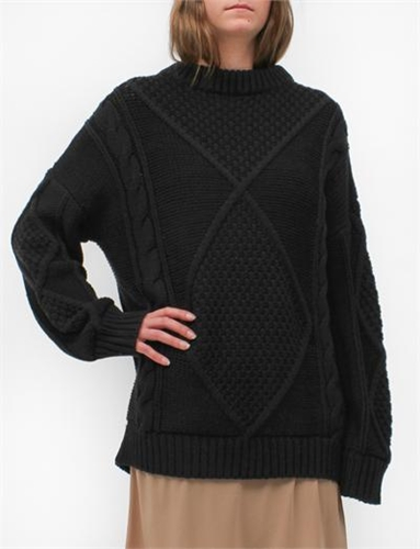 Creatures Of Comfort Cable Pullover Tape Yarn Black