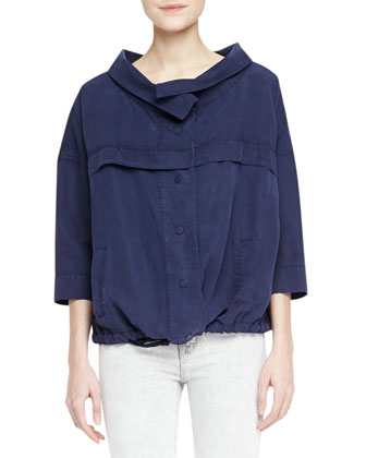 J Brand Jeans Bapsi Faded Denim Poncho Jacket