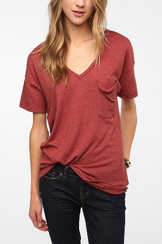 Truly Madly Deeply V Neck Pocket Tee Urban Outfitters