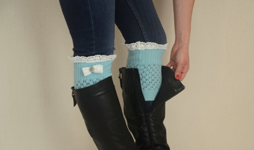 Mint Green Knit Bow Lace Boot Cuffs Boho Boot Socks Lace By Bstyle