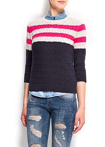 MANGO NEW Cable knit stripes cotton jumper