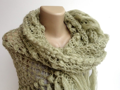 Soft Green Shawl Women Scarf Crochet Shawl Wrap By Senoaccessory
