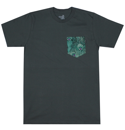 The Quiet Life Peacock Pocket T Shirt In Charcoal Huh. Store