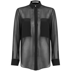 T By Alexander Wang Women's Silk Chiffon Long Sleeve Shirt Black Womens Clothing Free Uk Delivery Over 50