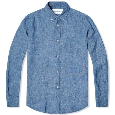 Our Legacy Everyman 1940S Button Down Shirt Blue Chambray