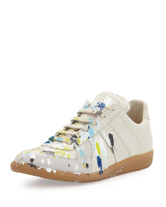 Maison Martin Margiela Splatter Low Top Sneaker Blue Yellow Neiman Marcus