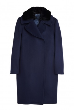 Acne Studios Navy Wool Shearling Collar Coat By Acne