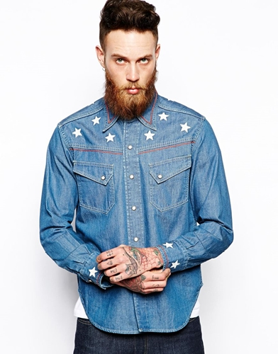 Levi 39 s levis vintage clothing denim shirt 1950 nuji for Levis vintage denim shirt 1950 sawtooth slim fit