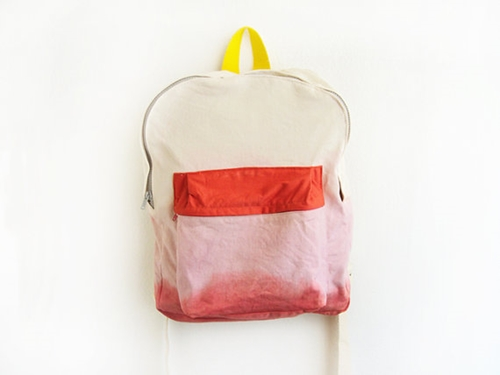 pink dyed backpack with orange pouch by ziazia on Etsy