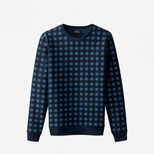 A.P.C. Gingham Sweatshirt Dark Navy