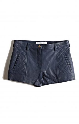 Blue Quilted Leather Shorts Edition01