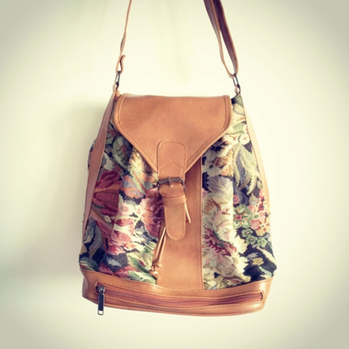 FREE SHIPPING Vintage Tapestry Leather Drawstring by oooliviaaa