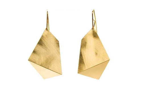 Sarah Loertscher Large Single Fold Earrings In Gold Blackbird