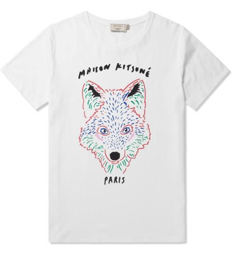 Maison Kitsune White 3D Fox Print Crewneck T Shirt Hypebeast Store. Shop Online For Men's Fashion Streetwear Sneakers Accessories