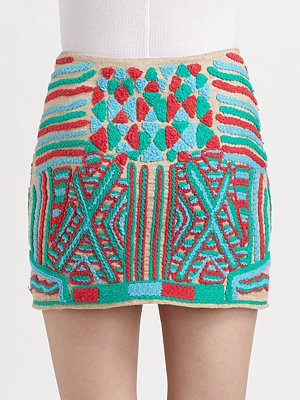 Gryphon Embroidered Mini Skirt Saks com