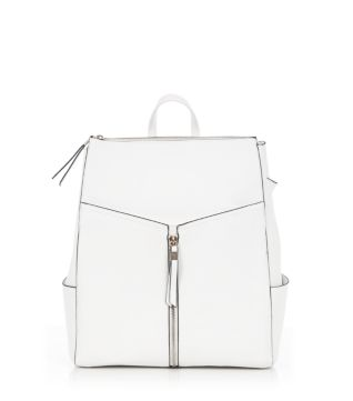 White Formal Zip Front Backpack