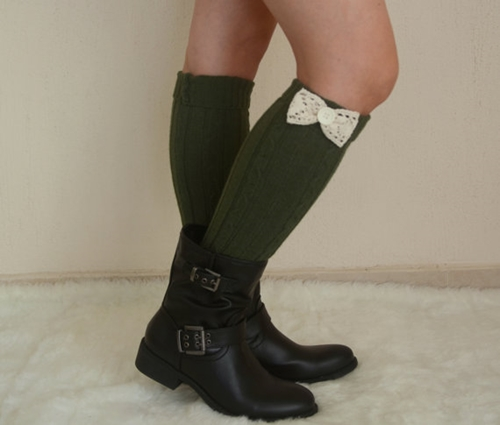 Green Cable Knit Bow Leg Warmers Chunky Leg Warmers By Bstyle