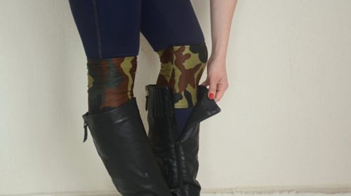 Camo Strechy Double Layers Boot Cuffs Boho Boot Socks By Bstyle