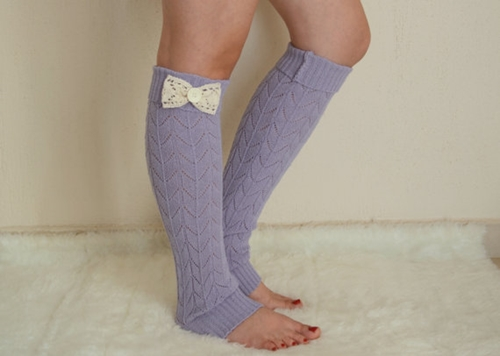Lavender Lace Bow Leg Warmers Chunky Leg Warmers Girly By Bstyle