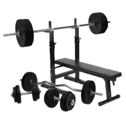 Gorilla Sports Weight Bench With 100Kg Vinyl Complete Weight Set Amazon.Co.Uk Sports Outdoors