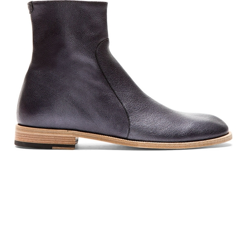 Maison Martin Margiela Black Glossy Grained Leather Ankle Boots Ssense
