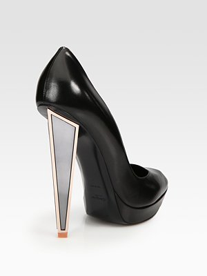Yves Saint Laurent Leather Mirror Heel Platform Pumps Saks com