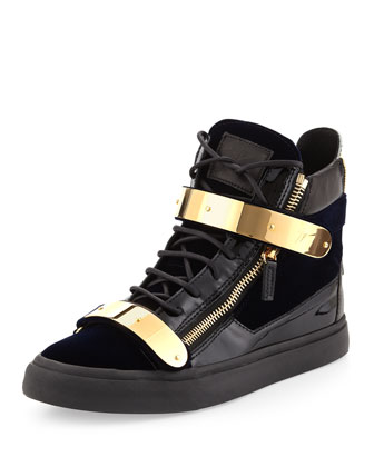 Giuseppe Zanotti Men's Velvet Hi Top Sneaker With Gold Strap Navy Neiman Marcus