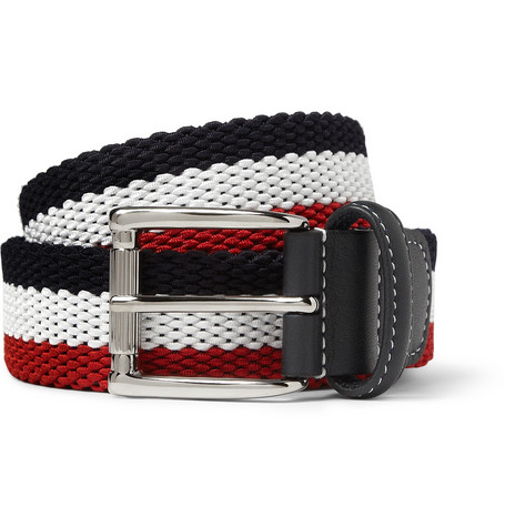 Anderson s Striped Woven Belt MR PORTER