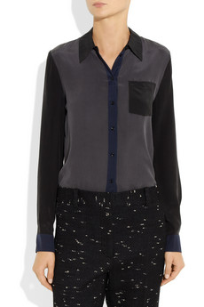 Vanessa Bruno Athe Color block washed silk crepe de chine shirt NET A PORTER COM