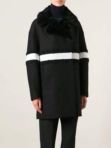 Moncler Gamme Rouge Trimmed Collar Striped Coat Smets Farfetch.Com