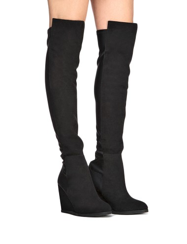 Black Over The Knee Suede Boots Thigh Skinny Boots 129