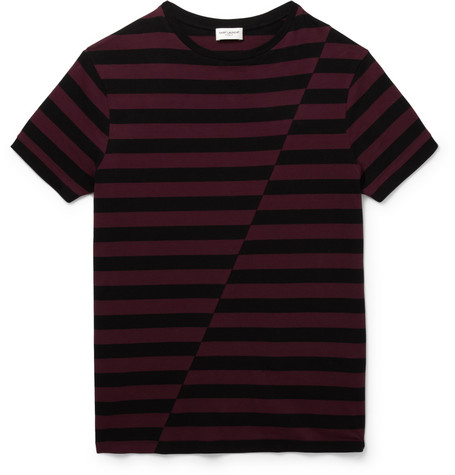 Saint Laurent Striped Panelled Cotton Jersey T Shirt Mr Porter