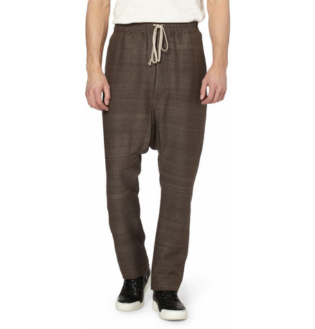 Rick Owens Dropped Crotch Textured Silk Blend Trousers MR PORTER