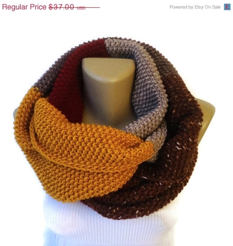On Sale Winter Scarf Unisex Knit Infinity By Senoaccessory