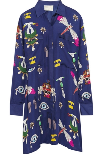 Mary Katrantzou Oriane Printed Silk Georgette Shirt Dress Net A Porter.Com