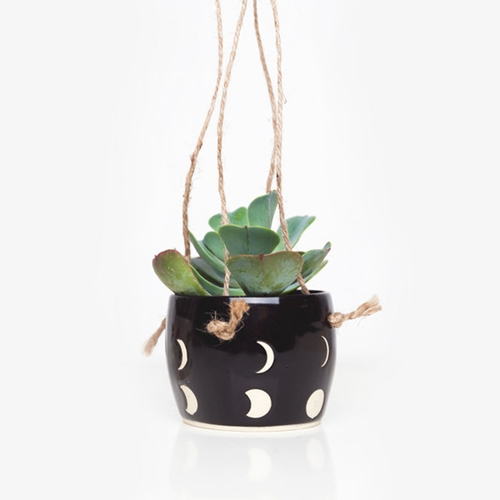 Small Spells Black Moon Phase Hanging Planter For Poketo Poketo