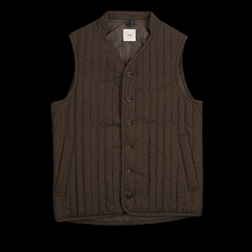 Unionmade Ts S Herringbone Quilted Liner Vest In Brown