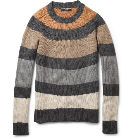 Dolce Gabbana Striped Knitted Crew Neck Sweater MR PORTER