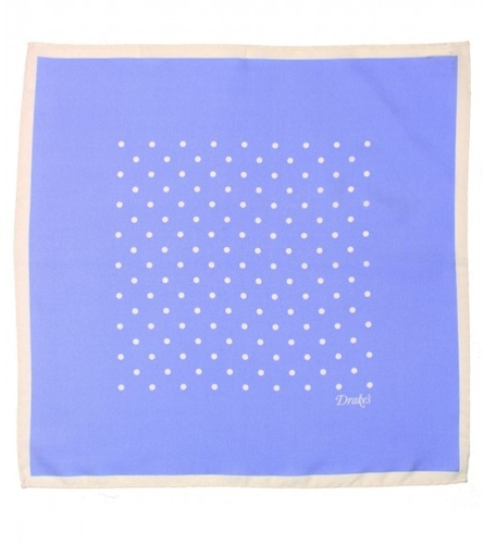 Classic Spot Print Cotton and Silk Handkerchief Handkerchiefs Accessories Drakes London