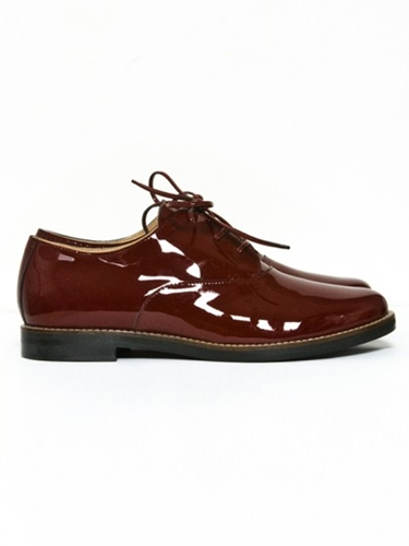 Mm 6 Maison Martin Margiela Patent Lace Ups Bordeaux At Gargyle