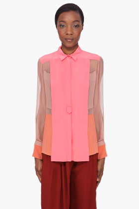 Chloe Pink Sheer Sleeve Silk Blouse for women SSENSE